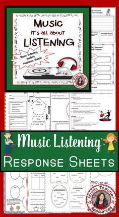 Music Listening Journal Response Sheets  |  A variety to suit different abilities.   ♫ CLICK through to read more or save for later!  ♫