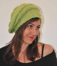 fd6cb2f0e81 Knit Beret hat Women hat Slouchy beret Green beret Wool beret Beanie hat  Knitted Hat Knit hat Handmade beret Winter hat French beret Gift
