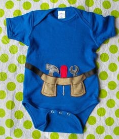 baby toddler boy tool belt onsie. I will have to make a girl version!