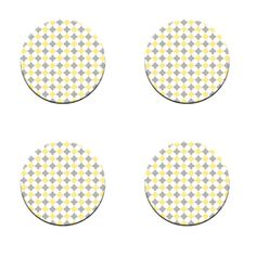 A Pack of 4 grey and yellow seamless Pattern Weights inspired by TV Sewing Bee #ricemetalscreationscouk