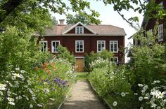 Decorated Hälsingland farmhouse, Hälsingland, Sweden.