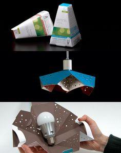 Light bulb packaging - reusable as a pendant light | Celery Design | amenidadesdodesign.com.br