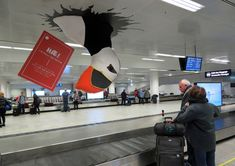 Giant puffin at baggage claim!