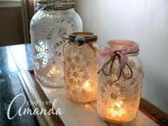 Burlap & Doily Luminaries: Rustic meets Romance, Amanda Formaro, Crafts by Amanda