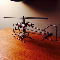 Helicóptero del metal arte por TheDaRkMetalArtStore en Etsy