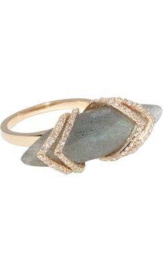 MAIYET  Labradorite & Diamond Ribcage Skinny Ring    From the Maiyet Fine Jewelry Collection: 18k yellow gold skinny ring with faceted 30.3ct labradorite marquis set within 0.7ct champagne diamond 'ribcage' at face.