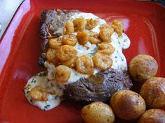 Creamy Parmesan sauce for steak: butter, garlic, shallot, cream cheese, half and half, parmesan, parsley