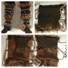 Savage / barbarian / fur and leather legwraps or perhaps (if padded) greaves