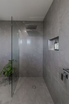 Grey floor and wall tile in open shower. Bathroom renovations by Northern Rivers Bathroom Renovations Grey Bathrooms, Modern Bathroom, Grab Bars In Bathroom, Open Showers, Master Bathroom Shower, Glass Shower Doors, Grey Flooring, Bathroom Renovations, Wall Tiles