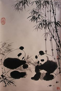 """WU ZUOREN (CHINESE, 1908-1997) 吳作人/一九七九年作人筆/珍異/前賢未見 PANDAS AND BAMBOO, 1979 Ink on paper mounted on silk hanging scroll: 33 1/4 x 22 1/4 in. Upper left seal """"Zhen yi"""", lower right inscribed in Chinese """"Painted in 1979"""" along with two artist seals """"Wu Zuoren"""", """"Qianxian Weijian"""" Provenance: Presented by Wu Zuoren to China Daily News in 1980, and exhibited at the Brooklyn Museum """"Fifteen Contemporary Chinese Paintings,"""" September 6-October 12, 1980, no. 6, Potomack Company, Oct. 18, 2014 Lot 429 Panda Painting, Japan Painting, Ink Painting, Stone Painting, Panda Art, Tinta China, Japanese Calligraphy, Art Case, China Art"""