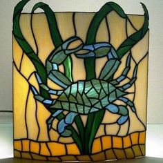 Stained Glass Wall Sconce Crab Design by