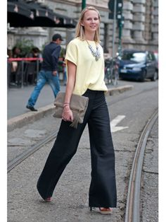 This yellow is incredibly versatile, and can be worn with jeans in the summer or, as seen here, with heavier trousers when the season starts to turn.      Read more: Milan Fashion Week Street Style Spring 2013 - Spring Fashion Week Street Style - Marie Claire