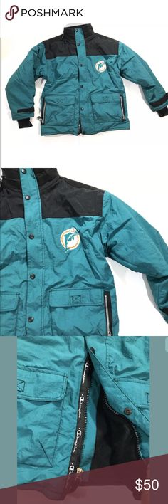VTG champion Miami Dolphins Jacket Missing a few snaps on the bottom. General wear from the years  Armpit to armpit: 23 in  Top of shoulder to bottom hem: 29 in  Smoke free home Champion Jackets & Coats Bomber & Varsity