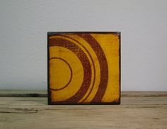 Yellow Circles Retro Atomic Abstract Art Block by MatchBlox, $29.00