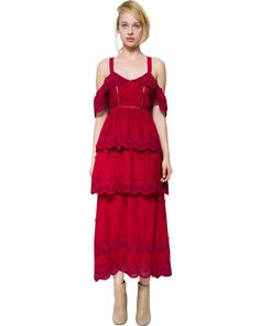 Self-Portrait | Tiered Eyelet Crepe-Blend Midi Dress | Lyst