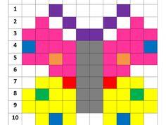 Fuse Bead Patterns, Perler Patterns, Beading Patterns, Tiny Cross Stitch, Cross Stitch Flowers, Pixel Art, Free Printable Puzzles, Kindergarten Colors, Barn Quilt Designs