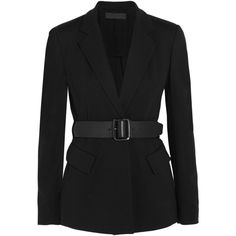 Donna Karan New York - Essentials Belted Ponte-jersey Blazer ($678) ❤ liked on Polyvore featuring outerwear, jackets, blazers, black, blazer, ponte blazer, donna karan, 80s jackets, belted blazer and ponte jacket