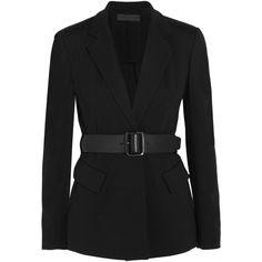 Donna Karan New York Essentials belted ponte-jersey blazer (490,580 KRW) ❤ liked on Polyvore featuring outerwear, jackets, blazers, black, donna karan blazer, tailored jacket, snap jacket, belted blazer and slim blazer jacket