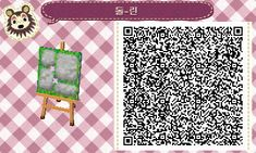 Animal Crossing QR Code blog Mossy grey brick path w/ grass & sm. flower border  & Stepping stones TILE#8 LAST ONE<--