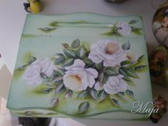 Wooden box with decoupage