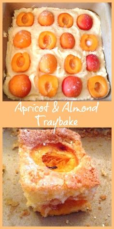 Apricot and almond traybake - a delicious summery sheet cake. - sweetsApricot and almond traybake - a delicious summery sheet cake with fresh apricots and ground almonds Tray Bake Recipes, Fruit Recipes, Sweet Recipes, Baking Recipes, Cake Recipes, Dessert Recipes, Recipies, Apricot Recipes, Almond Recipes