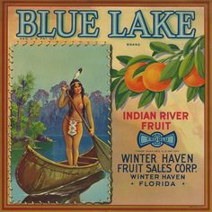 "RARE OLD ORIGINAL 1931 GORGEOUS ""BLUE LAKE BRAND"" BOX LABEL WINTER HAVEN FLORIDA in Antiques, Other Antiques 