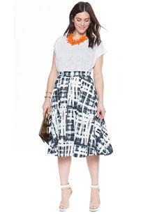 Printed Scuba Midi Skirt   Women's Plus Size Skirts   ELOQUII