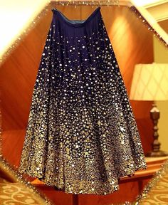"""Throwback to Geeta Basra's stunning midnight blue lehenga by Archana Kochhar with mirror work and Swarovski crystals. Pakistani Dresses, Indian Dresses, Indian Outfits, Eid Outfits, Work Outfits, Indian Attire, Indian Ethnic Wear, Lehnga Dress, Saree Gown"