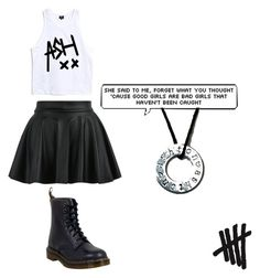 """""""5 sos"""" by amira-unicorn ❤ liked on Polyvore featuring Dr. Martens, bandtshirt and bandtee"""