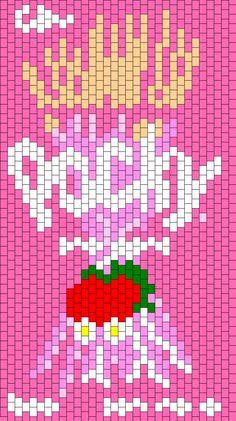 Strawberry_Pocky_Backpack_Front by GeneratedSoul on Kandi Patterns Pony Bead Patterns, Kandi Patterns, Beading Patterns Free, Perler Patterns, Peyote Patterns, Sewing Patterns, Beading Ideas, Embroidery Floss Crafts, Scene Kids