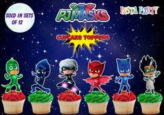 PJ Masks and Villains Cupcake Toppers Sold in Sets by Instaparty 6th Birthday Parties, Girl Birthday, Pj Mask Party Decorations, Pj Masks Birthday Cake, Kids Bop, Festa Pj Masks, Party Printables, Cupcake Toppers, Cake Ideas
