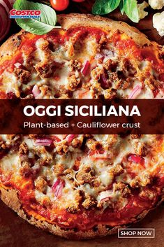 Oggi is a pioneer in making gourmet, healthy, GMO-free, gluten free Italian pizzas. This great quality cauliflower crust pizza is the only cauliflower crust with a rise. The Siciliana pizza is a plant-based vegan offering topped with Beyond Meat Italian sausage crumbles, vegan mozzarella cheese and tomato sauce. Made with traditional family recipes and an egg-free cauliflower crust, Oggi's award-winning pizzas are hand stretched and stone baked in a gluten free and peanut free facility. Family Recipes, Family Meals, Vegan Mozzarella, Cauliflower Crust Pizza, Egg Free, Tomato Sauce, Healthy Eats, Lasagna, Plant Based