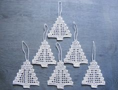 Crochet Сhristmas tree ornaments Xmas tree decorations by N Crochet Christmas Decorations, Xmas Tree Decorations, Christmas Tree Pattern, Crochet Christmas Ornaments, Christmas Crochet Patterns, Holiday Crochet, Crochet Snowflakes, Crochet Chart, Filet Crochet