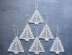 Crochet Сhristmas tree ornaments Xmas tree decorations by NatkaLV, $15.00