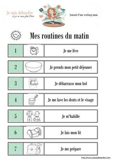 FREE Routine before and after school. After School Routine, School Routines, Study French, Learn French, Autism Education, Evening Routine, French Lessons, Teaching French, Kids And Parenting
