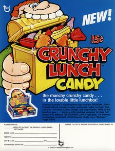 Topps - Crunchy Lunch Candy - 15-cent display box - sell sheet - 1970's by JasonLiebig, via Flickr