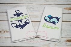 Nautical Burp Cloths Whale and Anchor Burp by WithLoveBoutiqueAL