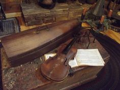 Old violin and wooden case