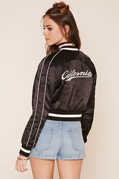Buy Beige, Black Bomber jacket for woman at best price. Compare Jackets prices from online stores like Forever 21 - Wossel United States Jackets Uk, Satin Jackets, Cute Jackets, Jackets For Women, Bomber Jackets, Varsity Jackets, Outerwear Jackets, Pink Bomber Jacket, Pink Jacket