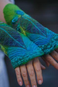 Felted Cuffs  Felted gloves  Arm warmers  Felt by FeuerUndWasser, $49.00. Beautiful!