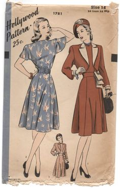 1940's Hollywood One-Piece Dress with Flutter sleeves and Bolero jacket Pattern - Bust 32 - No. 1781 by backroomfinds on Etsy