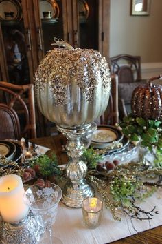 Glitz and Glam in the Dining Room for Fall! Designs by Pinky: Glitz and Glam in the Dining Room for Fall! Fall Harvest Decorations, Thanksgiving Decorations, Metal Pumpkins, Fall Pumpkins, Glitter Pumpkins, Thanksgiving Table Settings, Pumpkin Decorating, Fall Decorating, Paperclay