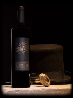 Tall Dark Stranger Bottle Shot with Cane and Tophat Bottle Shoot, Hot Shots, Blame, Drink Recipes, Whiskey Bottle, Red Wine, Mystery, Berries, Alcohol