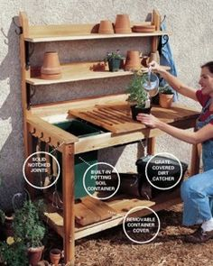 10 Potting Bench Ideas with Free Building Plans – Tuesday {ten This handy gardener's bench from the DIY experts of The Family Handyman Magazine includes complete plans with a cutting list and can be built using basic carpentry tools. Potting Bench With Sink, Potting Bench Plans, Potting Tables, Potting Sheds, Potting Soil, Outdoor Potting Bench, Garden Bench Plans, Outdoor Projects, Garden Projects