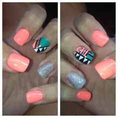 These nails are perfect for summer with the bright colors it says summer all over them...