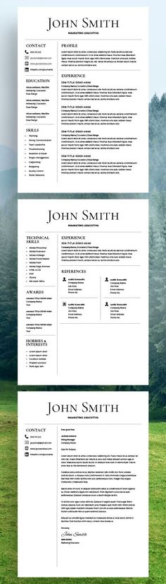 Professional Resume Template for Word and Pages 1, 2 and 3 Page - mac pages resume templates
