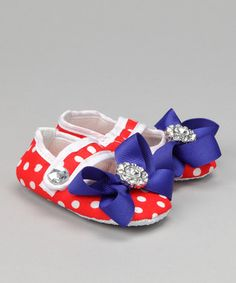 Red Polka Dot Bling Bow Booties