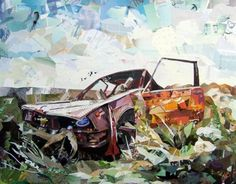 danny web Small1 Amazing Recycled Magazine Collage Art in art  with Recycled Paper & Books Magazine collage Bird Automotive Art