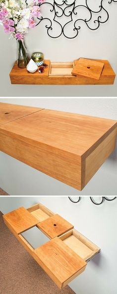 This floating wall shelf adds a sophisticated display space to most any living…