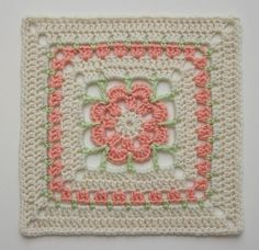 Crochet Squares Patterns Ravelry: Project Gallery for Just Peachy Blossom pattern by Donna Mason-Svara - Crochet Squares Afghan, Granny Square Crochet Pattern, Crochet Blocks, Crochet Afghans, Crochet Granny, Thread Crochet, Crochet Yarn, Free Crochet, Crochet Home